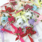 Pretty  Rose & ribbon bow embellishmentS  65mm x 35mm sold per 5 bows