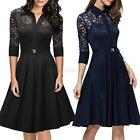 1950s Women Vintage Style 3/4 Sleeve Lace Dress Party Cocktail Swing Dress