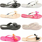 WOMENS LADIES TOE POST JELLY SUMMER BEACH FLAT FLIP FLOPS SANDALS SHOES SIZE