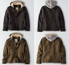 American Eagle AEO Military Sherpa Hooded Workwear Flannel Lined Jacket Coat
