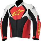 Alpinestars Men's White/Red/Yellow Jaws Perforated Leather Jacket