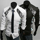 New Men's Splice Printing Casual Shirts T-Shirts Fashion Long Sleeve Blouse Tops