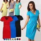 2016 Pregnant Womens Sexy Dress Summer Premama V-Neck Shirt Dress Pure Color