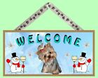 """Yorkie Puppy 10"""" x 5"""" Winter Season Wooden Welcome Dog Sign New Made in USA!"""