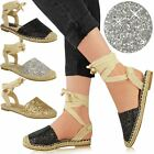 Womens Ladies Glitter Espadrilles Flat Low Heel Sandals Ankle Lace Up Shoes Size