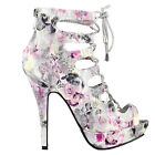 Glitter Silver Cut-Out Lace Up Gladiator Bootie Sandals AU Size 4/5/6/7/8/9/10