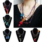 1 Pc Women Hot Popular 5 Colors Feather Beads Ethnic Statement Pendant Necklace