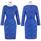 Fashion Ladies Women LACE Slim Bodycon Long Sleeve Formal Party Pencil Dress