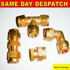 8mm or 10mm Brass Compression Fittings Straight Reducer Elbow Tee Coupling New
