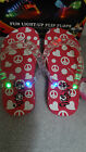 NIP Mia Firebug's Girl's Light-Up Pink Peace Sign/Hearts Flip Flops -Sizes 7- 3