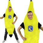 ADULTS BANANA COSTUME WITH STICKER UNISEX FANCY DRESS YELLLOW FOOD FRUIT OUTFIT