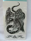 ONE SHEET MENS BOYS ARTY LARGE BLACK EAGLE & SNAKE TEMPORARY TATTOOS 2 DESIGNS