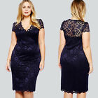 Celeb Ladys Navy Blue Sheer Lace V-neck Cocktail Party Club Bodycon Pencil Dress