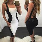 Sexy Women's Bodycon Backless Bandage Sleeveless Evening Midi Club Party Dress