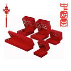 Red Chinese Style Palace Pattern Pierced Jewelry Earrings Necklace Bracelet Box