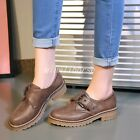Hot Womens Round Toes Buckles Block Low Heel Roman Stylish Casual Shoes Plus Sz