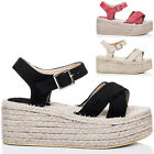 Womens Espadrille Adjustable Buckle Wedge Heel Sandals Shoes Sz 3-8