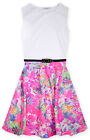 Girls Pink Neon Tropical Floral White Mix Sleeveless Skater Dress Pink 7-13 Yrs