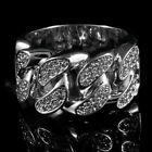 18K White Gold Plated ICED OUT CZ CUBAN LINK Band Mens Silver Rhodium Ring