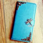 Dragonfly phone wallet Leather flip case Blue Card cover For iPhone 5 6 6S plus