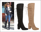 NEW LADIES WOMENS FASHIONABLE KNEE HIGH HEELED MICRO FIBRE BLACK TAUPE BOOTS