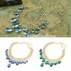 1PC Glamour Gemstone-like Necklace Waterdrop Beads Gold Plated Chain 45*4*1.6cm