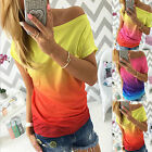 Womens Ladies Summer Gradient Casual Short Sleeve T-shirt Boat Neck Tops Blouse