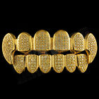 18K Gold Plated Canary CZ Vampire Dracula Fangs Top Bottom GRILLZ Teeth Grills