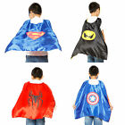 Kids Satin Superhero Cape & Mask Boys Girl Cosplay Party Costume Fancy Dress