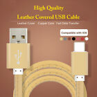 Leather USB Cable Cord Data Sync Battery Charging Lightning Connector for iPhone