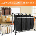 Laundry Sorter Clothes Basket Trolley Washing Hamper 4 Bag Organizer w/ Wheels