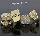 Mens 14K Gold Plated Hip Hop Iced Out Cz 4 Rings Bundle(1) Size 7 8 9 10 11 12