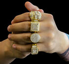 mens cz ring - Mens 14K Gold Plated Hip Hop Iced Out Cz 4 Rings Bundle(1) Size 7 8 9 10 11 12