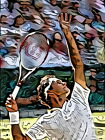 Roger Federer Tennis star Painting Wall Print POSTER
