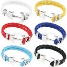 New Women Men Multilayer Leather Handmade Cuff Wristband Anchor Bracelet Bangle