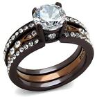 2.7 ct  Round CZ Chocolate Brown Stainless Steel Wedding Engagement Ring Set