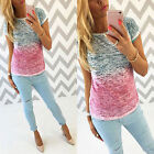 New Fashion Women Ladies Cotton Shirt Blouse Tops Short Sleeve T Shirt Size 6-16