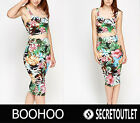 Boohoo New Ladies Tropical Floral Print Bralet Crop Top & Bodycon Midi Skirt Set