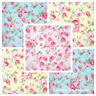ROSIE - ROSE FLORAL 100% COTTON FABRIC yellow pink blue BY THE METRE