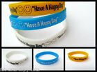 Fashion Have a Happy Day Smiley Happy Face Silicone Rubber Wrist Band UK Seller