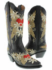 Womens casual black 4 embroidered  heart wings western leather cowboy boots snip