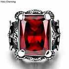 Top Quality Party Rings Men Gift Red Zircon 316L Stainless Steel Fashion Jewelry