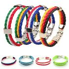 Unisex Women New Country Flag 3 Rope Braided Leather Bangle Bracelet 8 Inches
