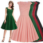 Ladies 50s Solid Pinup Swing Retro Vintage PARTY Dress Evening Cocktail Dress