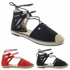 NEW WOMENS FLAT ESPADRILLES SANDALS ANKLE LACE UP CUT OUT LOW SUMMER SHOES SIZE
