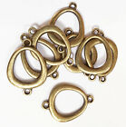 8 pcs of Gold plated double sided oval teardrop connector,  available  4 colors