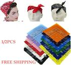 2PC Paisley Bandana Head wrap Cotton Head Wrap Neck Scarf Wristband Handkerchief