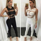 Women 2 Colour Evening Party Playsuit Ladies Lace Long Jumpsuit Size S-XL EW