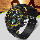 Fashion Men Digital Sports Army Military Quartz Wrist Watch WATERPROOF Dual Time