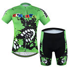AOGDA Pro Team Men's Footprint Cycling Jerseys and Gel Padded Bib Shorts